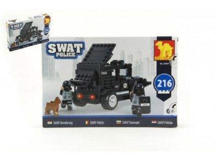 Stavebnice Dromader SWAT Policie Auto 216ks v krabici 32x21x5cm