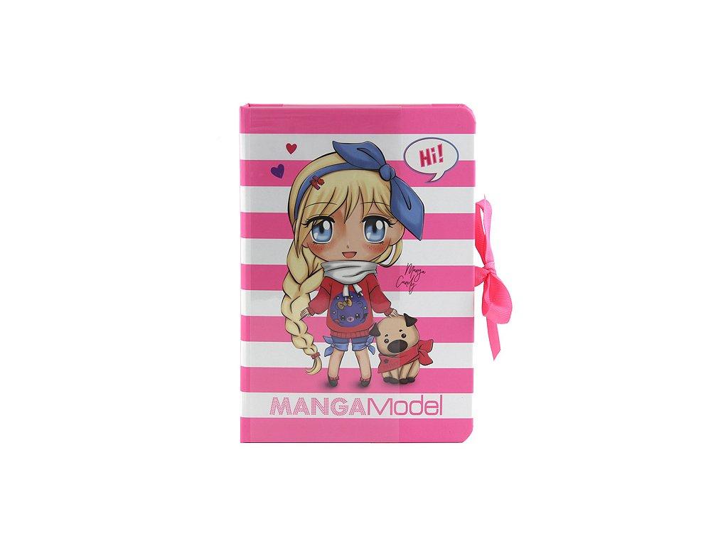 Zápisník s bločky Top Model Manga Model, růžovo-bílý