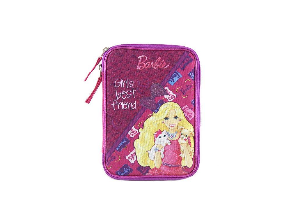 Školní penál s náplní Target Barbie s pejskem a kočičkou, barva růžová