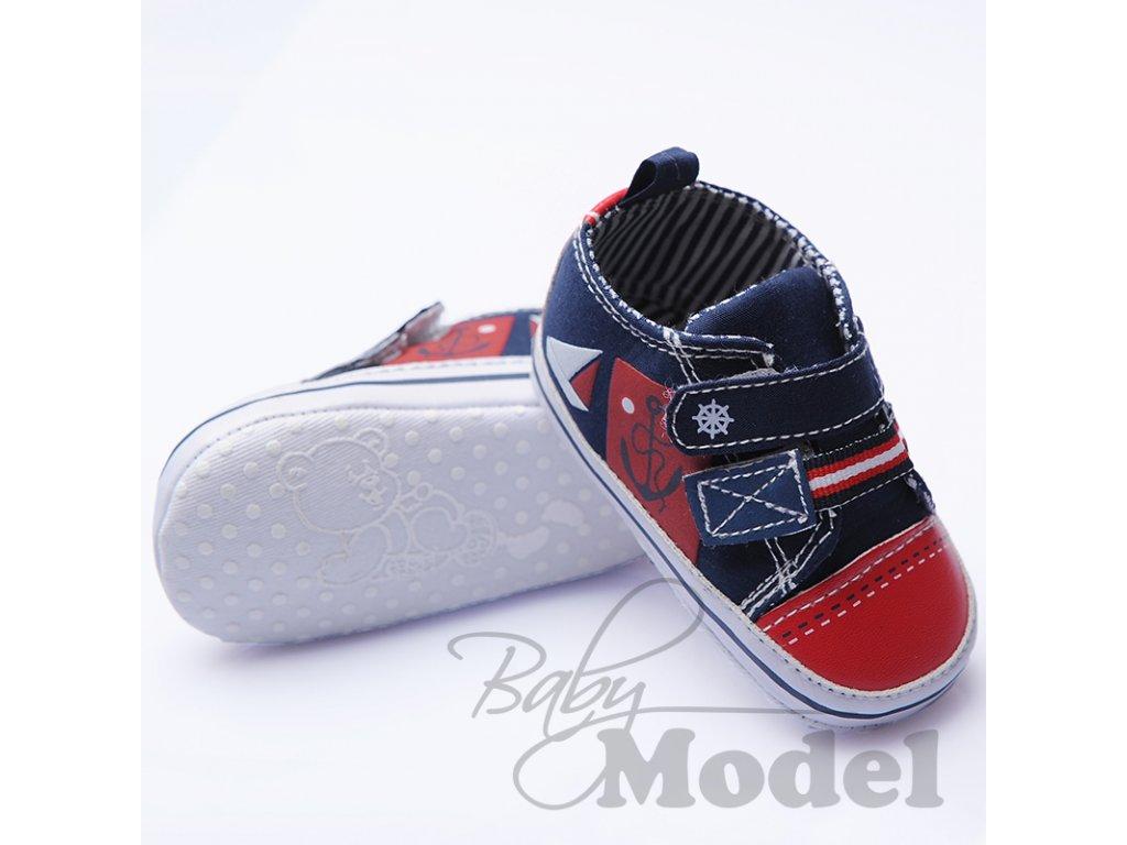 Kojenecké tenisky plátěné Soft Touch modrá/červená
