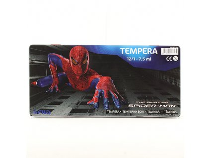 Tempery Spiderman 12 barev, v kovovém pouzdře s motivem Spidermana