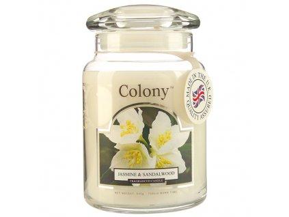 Svíčka ve skleněné dóze Colony Jasmín & santálové dřevo, 545 g