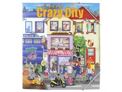 Kreativní sešit Create Your Crazy City se samolepkami a malováním