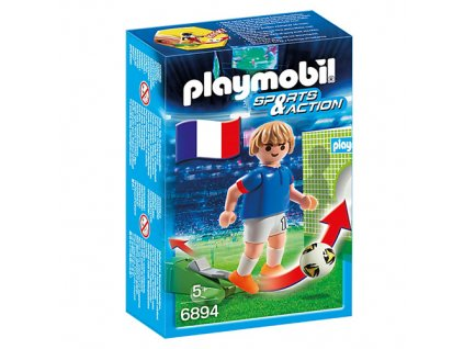 Fotbalista Francie Playmobil panáček s míčem, 5 dílků