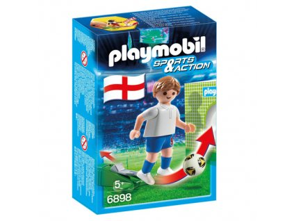 Fotbalista Anglie Playmobil panáček s míčem, 5 dílků