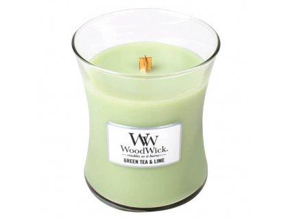 Svíčka oválná váza WoodWick Zelený čaj a limetka, 275 g