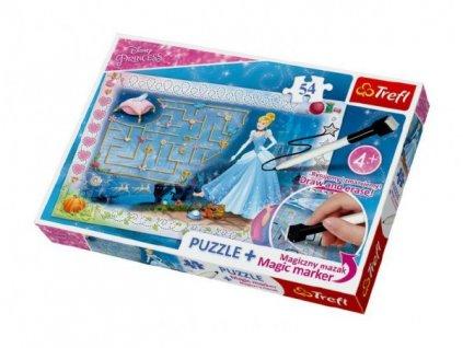 Puzzle + magický fix Princezny - hledání střevíčku/Disney  54 dílků v krabici 33x23x4cm