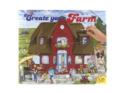 Omalovánky, kreativní sada Create Your Farm, červený domek, 435 samolepek