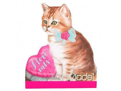 Poznámkový blok Top Model ASST I love cats, hnědá kočička s mašlí