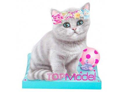 Poznámkový blok Top Model ASST Šedá kočička s květinovou čelenkou