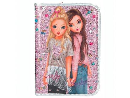 Penál s výbavou Top Model Candy a Hayden, jednopatrový, růžový