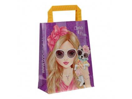 Papírový taška Top Model Christy a Bisou, 28 x 18 cm, fialová