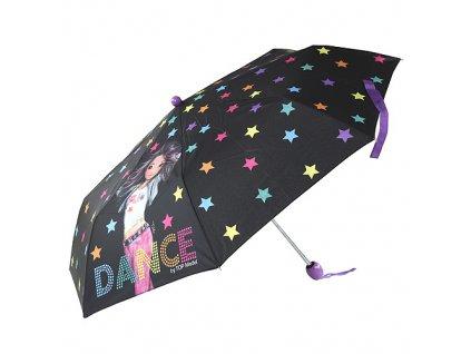 Deštník Top Model ASST Modelka Talita/černý s hvězdami - skládací