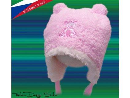 Dětská zimní čepice Rockino růžová s medvídkem