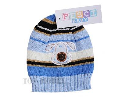 Dětská pletená čepice modrá