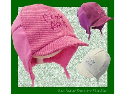 Dětská čepice ROCKINO s kšiltem a výšivkou fialová