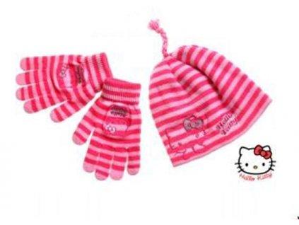 Zimní čepice a rukavice Hello Kitty růžová Disney