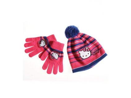 Zimní čepice a rukavice Hello Kitty malinová Disney