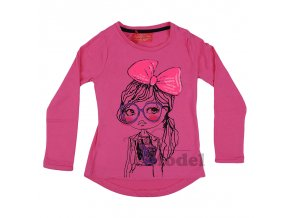 Dívčí tričko s dlouhým rukávem Kiss01 růžové