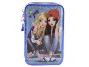 Školní penál s výbavou Top Model Jenny a Liv, modrý