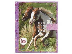 Diář Horses Dreams Koně na louce, se zámkem na kód
