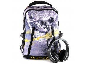 Studentský batoh CU.BE se sluchátky, žlutý