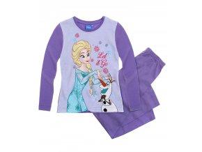 Dívčí pyžamo Ledové království Elza a Olaf s dlouhým rukávem fialové