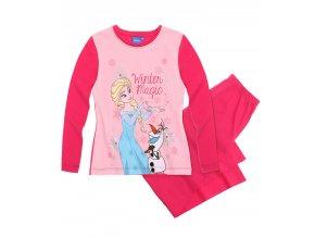 Dívčí pyžamo Ledové království s dlouhým rukávem růžové s Olafem