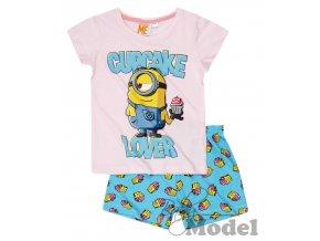 Dívčí pyžamo s krátkým rukávem Mimoni tyrkysové