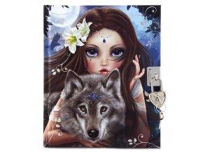 Deníček se zámkem Top Model vlk a havrani