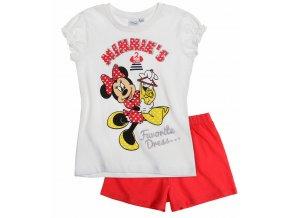 Dívčí pyžamo Minnie s krátkým rukávem bílo-červené