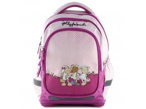 Školní batoh Nici růžový s bílými puntíky